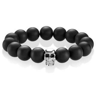 Crucible Men's Black Matte Onyx Stainless Steel Skull Bead Stretch Bracelet - 8 inches (14mm Wide)