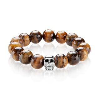 Crucible Men's Tiger Eye Stainless Steel Skull Bead Stretch Bracelet - 8 inches (14mm Wide)