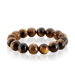 Men's Tiger Eye Spiritual Wellness and Healing Stone Bead Stretch Bracelet - 8 inches (14mm Wide)