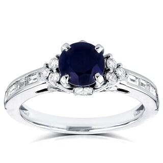 Annello 14k White Gold 1 3/5ct TCW Sapphire and Diamond Art Deco Ring (G-H, I1-I2)
