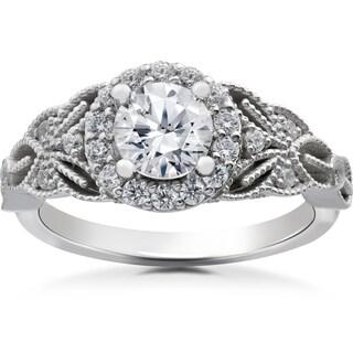 14k White Gold 1 3/8ct TDW Diamond Clarity Enhanced Halo Vintage Engagement Ring