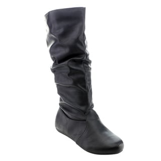 Forever GD90 Women's Mid-calf Solid Color Slouch Flat-heel Boots