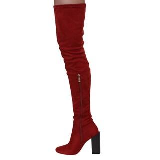 CAPE ROBBIN GD59 Women's Snug Fit Block Heel Thigh High Boots