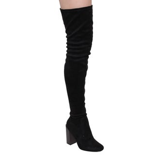 Cape Robbin GD59 Women's Almond Toe Snug-fit Block-heel Thigh-high Stretchy Boot