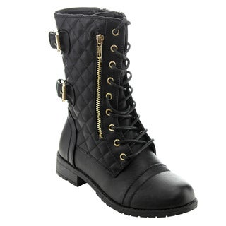 Forever Women's GD44 Lace-up Side Zipper Quilted Combat Boots
