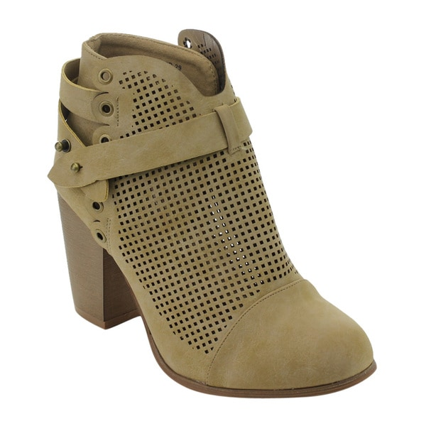 ED05 Women's Cut Out Wrapped Strappy High Chunky Heel Ankle Booties