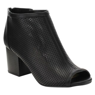 Bamboo Women's ED08 High Stacked Chunky Heel Perforated Ankle Booties