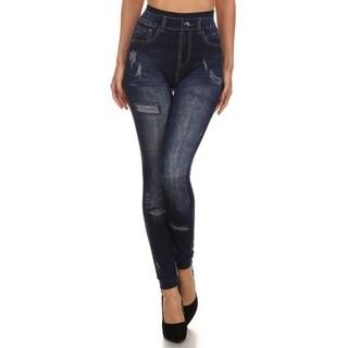 HoneyComfy Women's Viscose/Polyester/Spandex Fleece Design Sublimation Fashion Jeggings