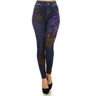 HoneyComfy Fleece Jeggings With Large Purple Pink Flowers Sublimation