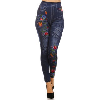 HoneyComfy Women's Polyester, Viscose and Spandex Fleece Fashion Jeggings with Flower Sublimation