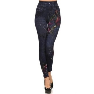 HoneyComfy Women's Fleece Jeggings with Floral-print Sublimation