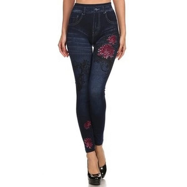 HoneyComfy Fleece Jeggings with Hibiscus Sublimation