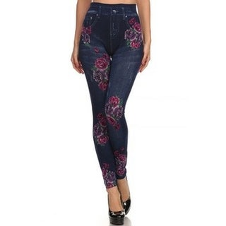 HoneyComfy Women's Viscose, Polyester and Spandex Fleece Jeggings with Floral-print Sublimation