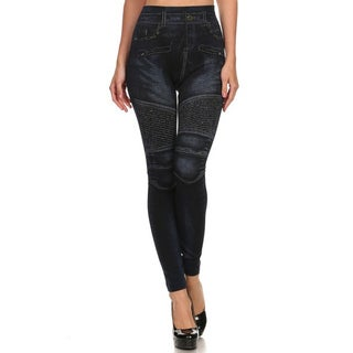 HoneyComfy Black Fleece Jeggings With Stitched Design Sublimation