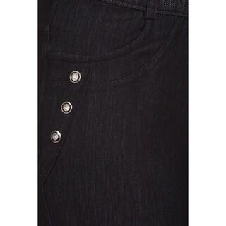 HoneyComfy Blue/Black Cotton/Spandex/Viscose Fleece Fashion Jeggings with Rhinestones
