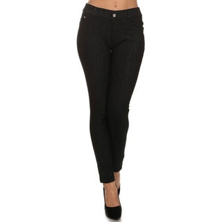 HoneyComfy Black Viscose/Polyester/Spandex Fleece Fashion Jeggings