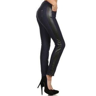 HoneyComfy Women's Terry/Faux Leather Fashion Jeggings