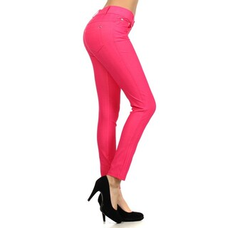 HoneyComfy Women's Solid-colored Cotton-blended Herringbone Jeggings (2 options available)