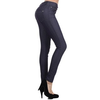 HoneyComfy Women's Solid-colored Cotton-blended Herringbone Jeggings
