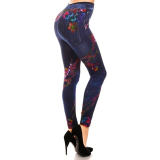 HoneyComfy Women's Jeggings With Rainbow Reptile Sublimation