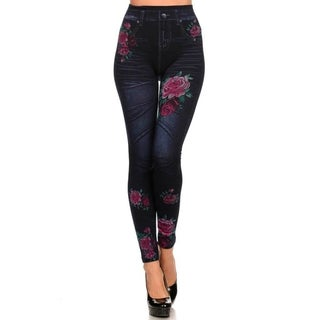 HoneyComfy Women's Black/Red Sublimation Jeggings With Roses On Thigh and Calf