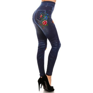 HoneyComfy Ladies' Polyester, Viscose and Spandex Jeggings with Red and Purple Flowers Sublimation