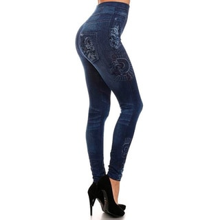 HoneyComfy Women's Blue Sublimation Flower Print Jeggings