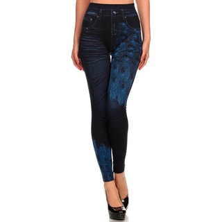 HoneyComfy Ladies' Blue Peacock Sublimation Jeggings