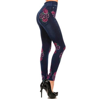 HoneyComfy Ladies' Polyester, Viscose and Spandex Jeggings with Flower-print Sublimation