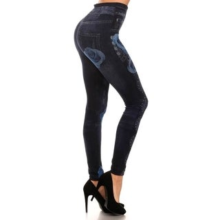 HoneyComfy Ladies' Jeggings with Blue Rose and Jewels Sublimation