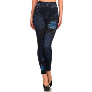 HoneyComfy Ladies' Viscose, Polyester and Spandex Jeggings with Blue Dahlia Sublimation