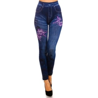 HoneyComfy Women's Yellow Viscose Jeggings With Purple Hibiscus Flower Sublimation