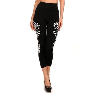 HoneyComfy Women's Medallion Print Athletic Capri Pants