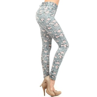 HoneyComfy Ladies' Cotton and Spandex Ditsy-print Jeggings