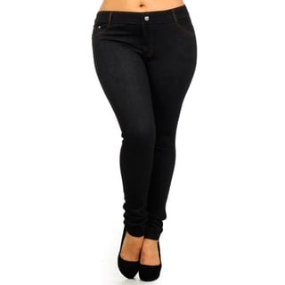 HoneyComfy Women's Black Polyester-blended Plus-size Fashion Jeggings