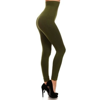 HoneyComfy Women's Army Green Non-fleece 7.5/12.5-inch Waist Compression Leggings