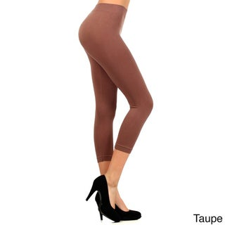 HoneyComfy Women's Solid Color Nylon Seamless Capri Leggings