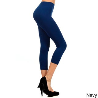 HoneyComfy Women's Solid Color Nylon Seamless Capri Leggings