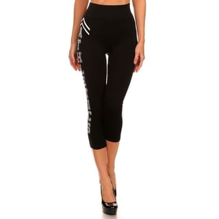 HoneyComfy 'Athletics' Print Athletic Capri Leggings