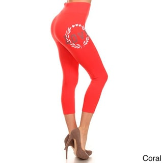 HoneyComfy Women's Cotton, Polyester and Spandex Love-print Athletic Capri Leggings