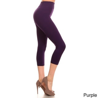 HoneyComfy Solid Color Seamless Capri Jeggings