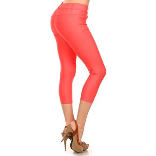 HoneyComfy Solid Color Cotton/Spandex/Polyester Capri Fashion Jeggings (Option: Pink - S)
