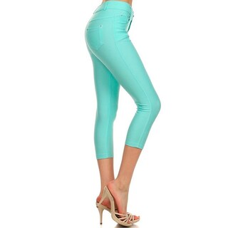 HoneyComfy Solid Color Cotton/Spandex/Polyester Capri Fashion Jeggings (5 options available)