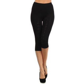 HoneyComfy Women's Cotton/Polyester/Spandex Capri Rhinestone-accented Jeggings With Tiny Holes