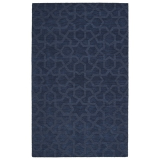 Trends Navy Geo Wool Rug (8'0 x 11'0) - 8' x 11'