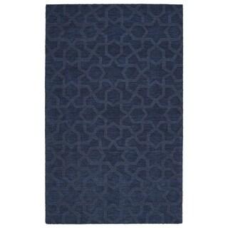 Trends Navy Geo Wool Rug (8' x 11')