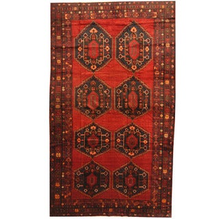 Herat Oriental Afghan Hand-knotted 1960s Semi-antique Tribal Balouchi Wool Rug (7'3 x 13')