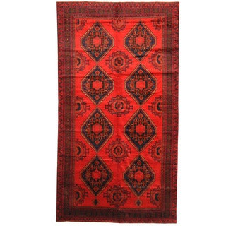 Herat Oriental Afghan Hand-knotted 1960s Semi-antique Tribal Balouchi Wool Rug (7' x 12'10)