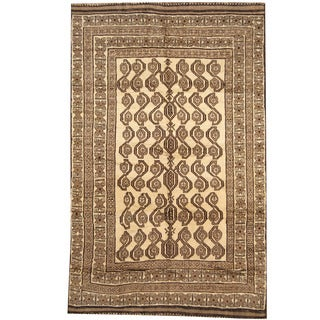 Herat Oriental Afghan Hand-knotted 1960s Semi-antique Tribal Balouchi Wool Rug (6' x 9'4)