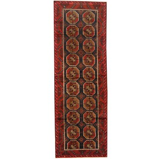 Herat Oriental Afghan Hand-knotted 1960s Semi-antique Tribal Balouchi Wool Runner (4'2 x 12'4)